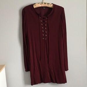 Burgundy shift dress size small